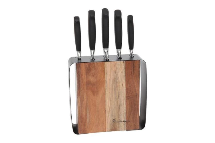 Stanley Rogers Framed Acacia 6 Piece Knife Block Set
