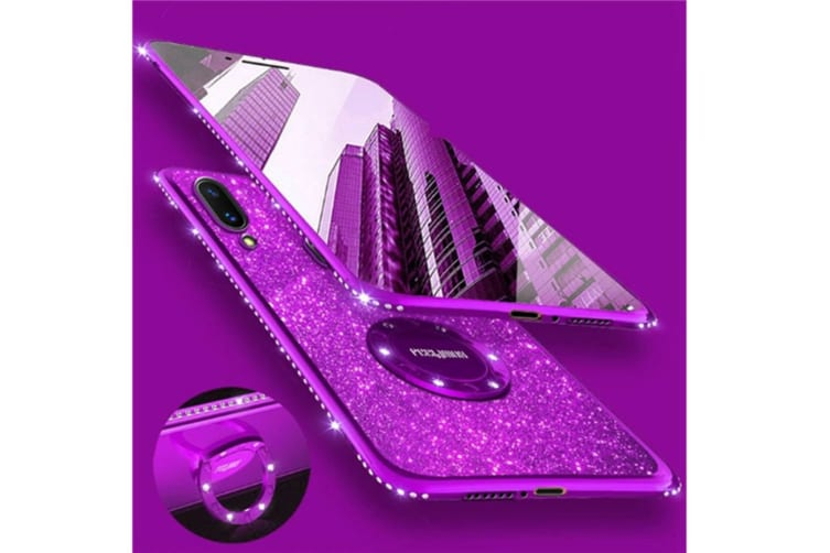 Glitter Diamond Rhinestone Bumper Ring Kickstand Protective Phone Case Vivo Purple Vivo Y85