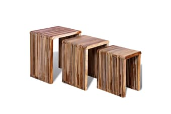 vidaXL Nesting Table Set 3 Pieces Reclaimed Teak