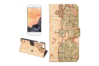 For iPhone 8 PLUS 7 PLUS Wallet Case Elegant World Map Leather Cover Yellow
