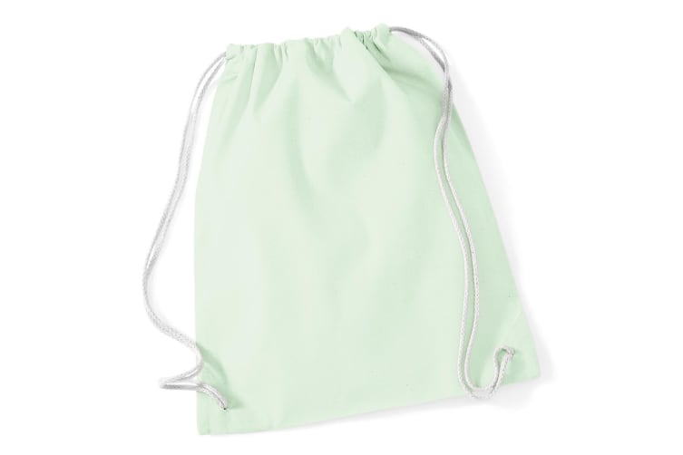 Westford Mill Cotton Gymsac Bag - 12 Litres (Pack of 2) (Pastel Mint/White) (One Size)