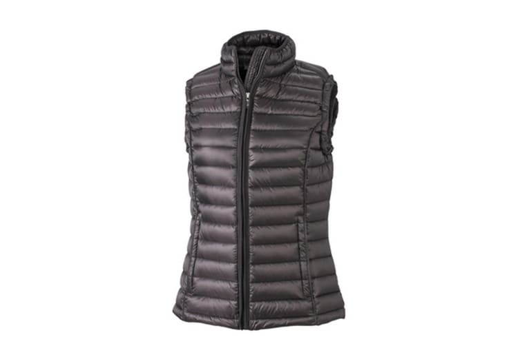 James and Nicholson Womens/Ladies Quilted Down Vest (Black/Black) (S)