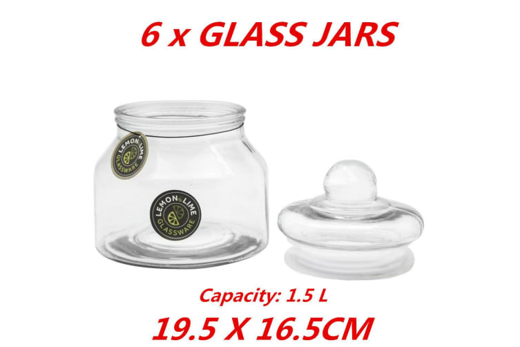 6 x 1.5L Glass Multi-purpose Storage Apothecary Jars Lolly Candy Buffet Wedding Pack