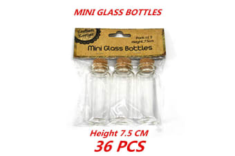 36 x Clear Mini Small Cork Stopper Tiny Glass Vial Jars Containers Bottle Bulk 7.5cm