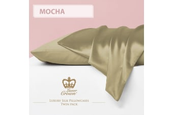 Two Mulberry Silk Fronted Pillowcases MOCHA
