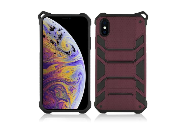 For iPhone XS Max Cover Shockproof Dustproof Strong Armour Phone Case Dark Red