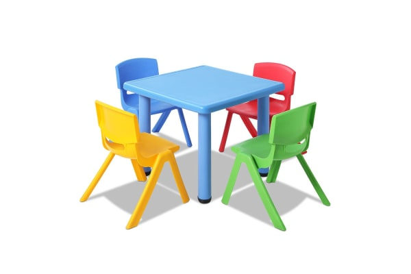 Kids 5 Piece Table and Chairs Playset (Blue)