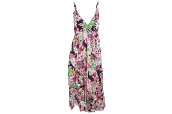 Womens/Ladies Floral Print Strappy Crossover Summer Dress (Pink)
