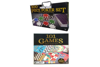 2PK Cardinal Classic 300pc Poker Set w/ Case & Wooden 101 Games Set Family Game