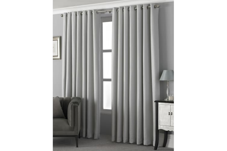 Riva Home Pendleton Ringtop Eyelet Curtains (Silver) (229 x 183cm)