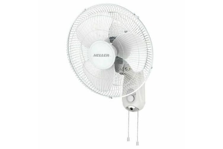 Heller White 40cm Wall Fan w/ Pull Cord/3 Speed/Oscillating/Tilt Adjustable