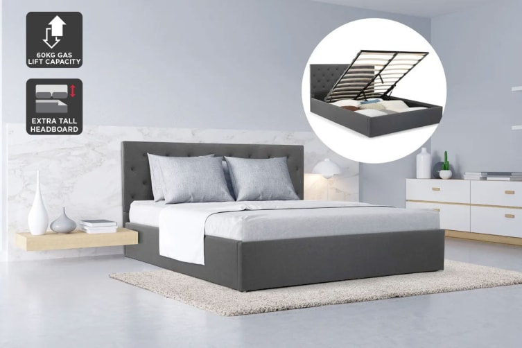 Shangri-La Bed Frame - Newport Gas Lift Collection (Slate Grey, Double)