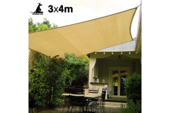 Wallaroo Rectangular Shade Sail Sand: 3m x 4m