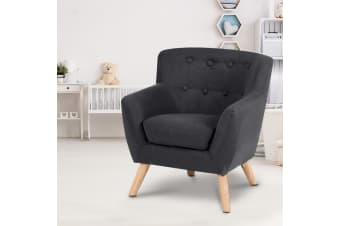 Artiss Kids Sofa Armchair Fabric Furniture Lorraine French Couch Children Black