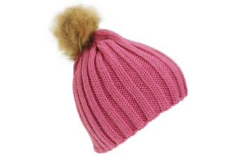 Childrens Girls Cable Knit Faux Fur Pom Pom Winter Beanie Hat (Pink) (One Size)