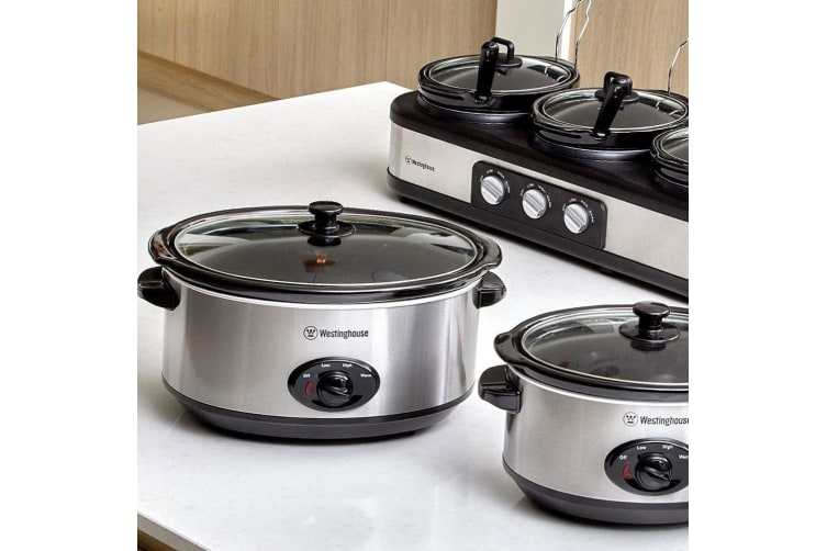 Westinghouse 6.5L Electric Slow Cooker Stainless Steel Pan/Pot Cookware w/ Lid