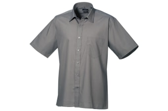 Premier Mens Short Sleeve Formal Poplin Plain Work Shirt (Dark Grey) (15.5)