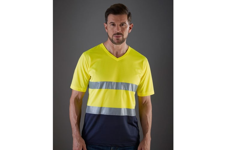 Yoko Mens Cool Weave Hi-Vis V Neck T-Shirt (Pack of 2) (Hi-Vis Yellow/Navy) (XL)