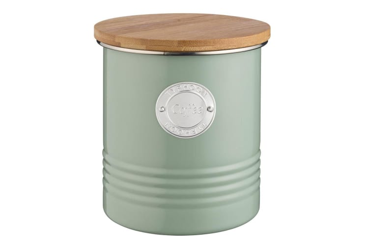 Typhoon 1L Sage Metal Tin Coffee Bean Canister Container Storage Jar w  Wood Lid