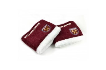 West Ham FC Official Football Sweatbands (Set of 2) (Claret/White)