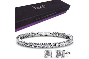 Princess Cut Tennis Bracelet and Earrings Set Embellished with Swarovski crystals