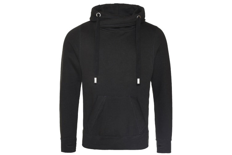 AWDis Hoods Mens Cross Neck Hoodie (Jet Black) (M)