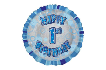 Unique Party 18 Inch Circle Blue Happy Birthday Foil Balloon (Blue)