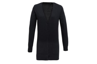 Premier Womens/Ladies Longline V Neck Knitted Cardigan (Charcoal) (14)