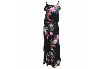 Womens Ladies Floral Print Strappy Maxi Dress (Black with Floral Print)