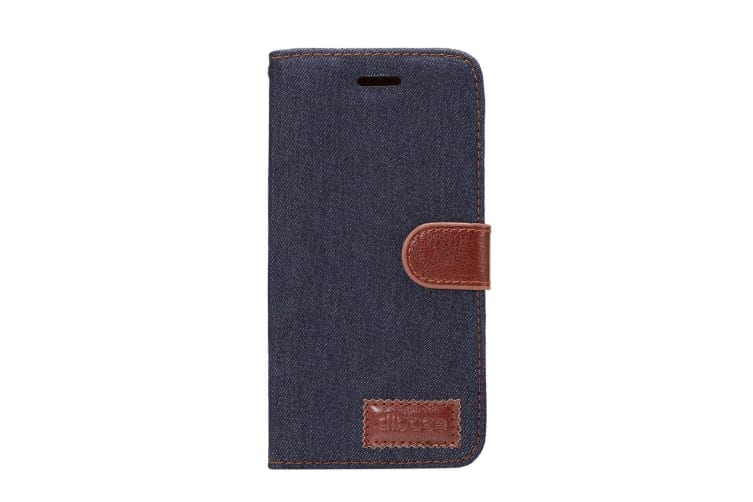For Samsung Galaxy S9 Wallet Case Denim Textured Leather Protective Cover Black