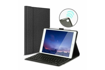 For iPad 10.2 7th Gen 2019 Wireless Bluetooth Keyboard With Leather Cover Case-Black