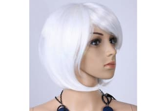 Womens Short 30cm Straight Synthetic BOB Wigs w Side Bangs Cosplay Costume Party - White
