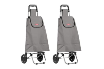 2PK Typhoon Grey Grocery Shopping Cart Trolley Portable Foldable Bag Basket