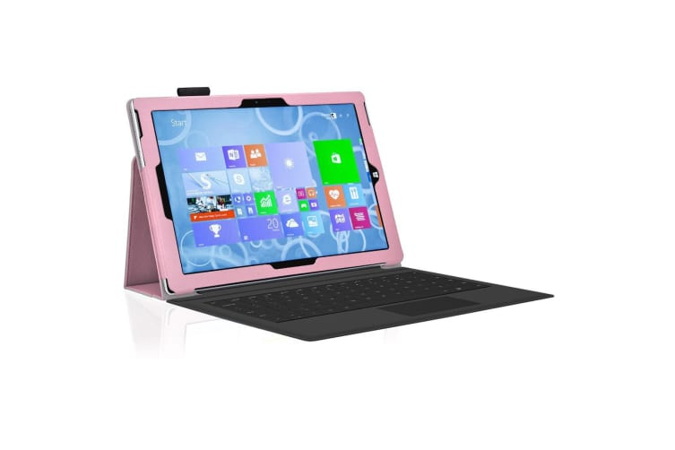 "Microsoft Surface Pro 7 (12.3"") Slim Folio Flip Case by MEZON – Compatible with Type Cover Keyboard – With Screen Protector and Stylus – Pink"