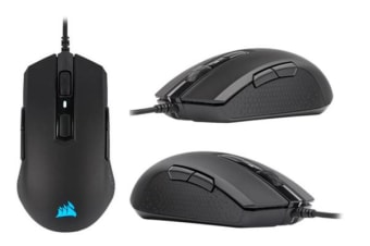 Corsair M55 RGB PRO Ambidextrous Multi-Grip Gaming Black Mouse, 200-12,400 DPI, ICUE Software. 2 Years Warranty