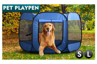 8 Panel Pet Dog Playpen Exercise Cage BLUE S
