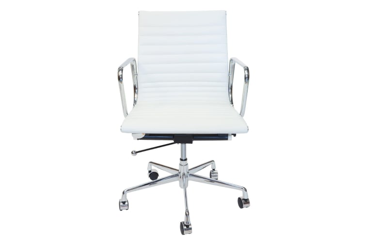 Replica Eames Low Back Ribbed Leather Management Desk / Office Chair | White