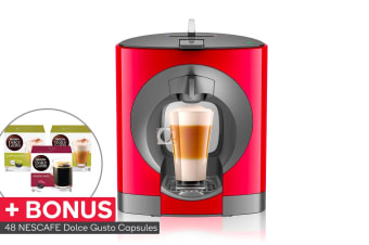 NESCAFE Dolce Gusto Oblo Capsule Coffee Machine with BONUS 48 Capsules - Dark Red (NCU200RED)