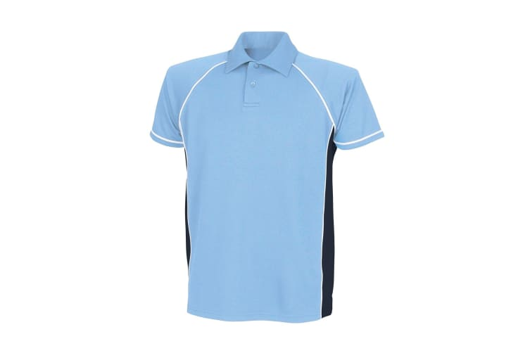 Finden & Hales Mens Piped Performance Sports Polo Shirt (Sky/Navy/White) (L)