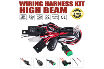 LIGHTFOX DT Wiring Loom Harness Kit Fuse Relay Switch LED Work Driving Light Bar