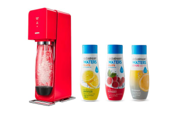 SodaStream Source Element Sparkling Water Maker (Red) With Free Flavours