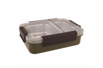 Oasis 23cm Stainless Steel 2 Compartment Lunch Box Food Storage Container Khaki