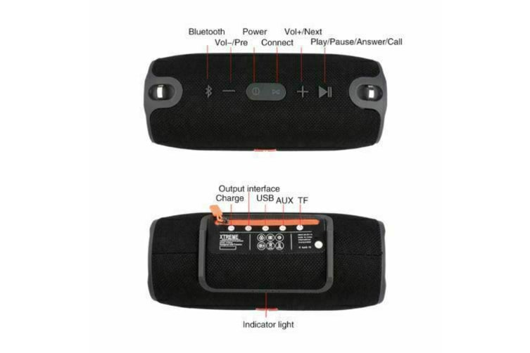 Wireless Bluetooth Speaker HIFI Portable Outdoor Rechargeable Stereo USB/TF/AUX-Black