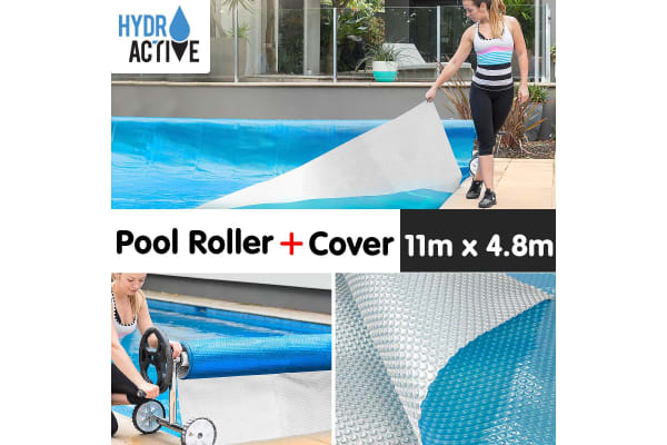500micron Swimming Pool Roller Cover Combo - Silver/Blue - 11m x 4.8m
