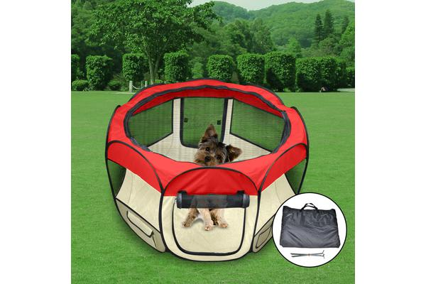 Pet Soft Playpen Round Crate Cage RED L