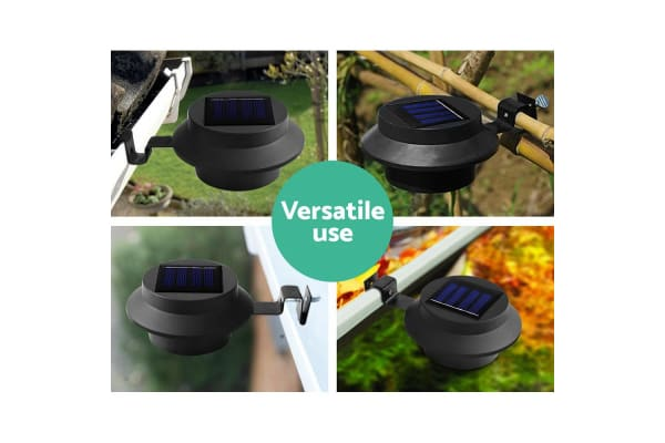 Set of 8 Solar Powered Sensor Lights - Black