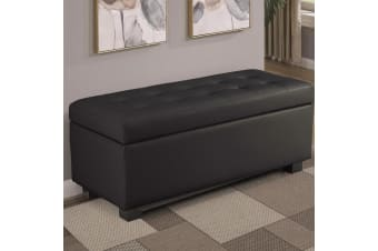 Large Ottoman Faux Leather Storage Box Footstool Chest - Brown