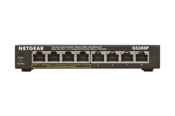 Netgear GS308P Soho 8-Port Gigabit Unmanaged Switch with 4-Port PoE (GS308P-100AUS)