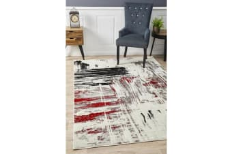 Felicia Red & Charcoal Soft Abstract Rug 330x240cm