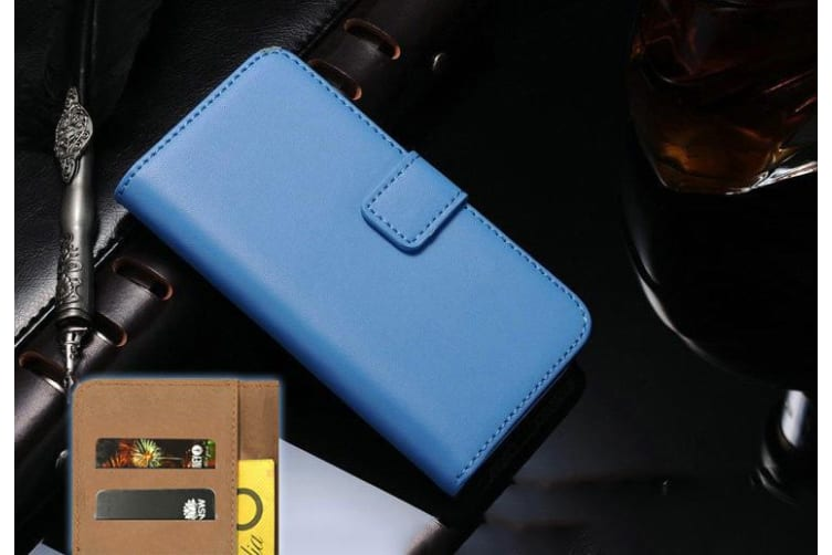 For iPhone XS X Wallet Case Elegant Slim Leather Cover Card Holder Blue